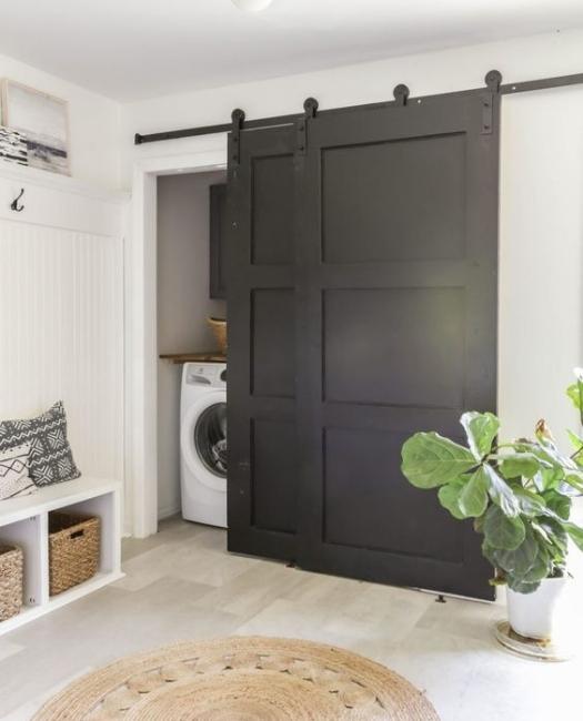 Matte Black Bypass Wood Laundry Sliding Barn Door