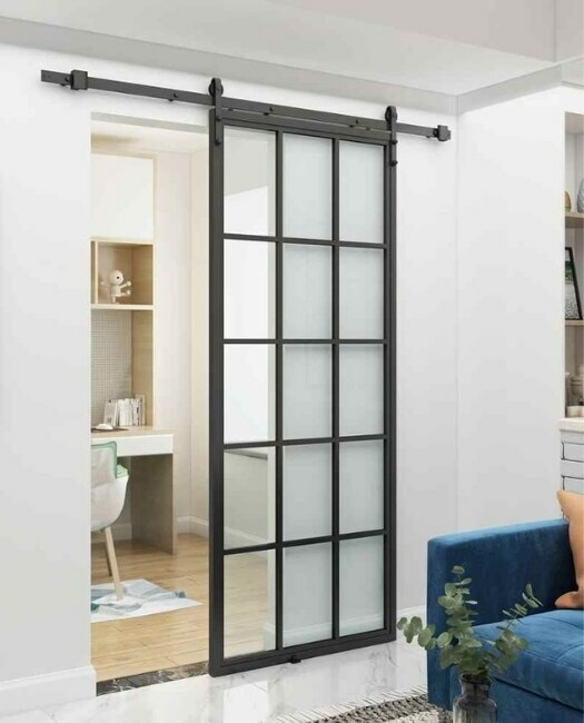 Window Pane French Sliding Barn Door Life Style Modern Minimalist
