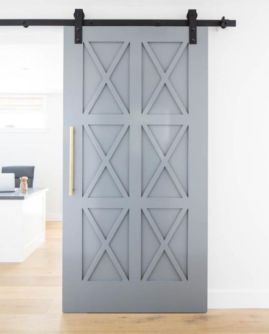 Custom Wood Six X Pattern Slate Blue Sliding Barn Door