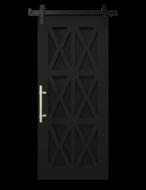 The Harper Custom Wood Six X Barn Door - Matte Black