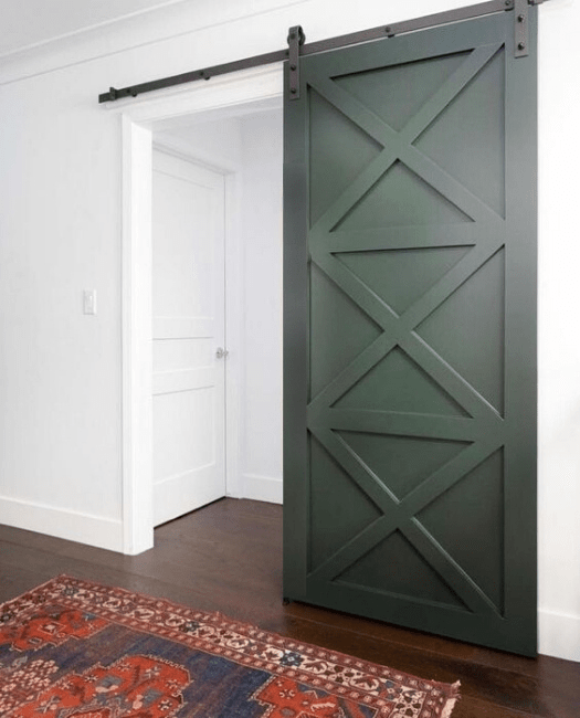 The Ava custom wood barn door three x pattern with No handle
