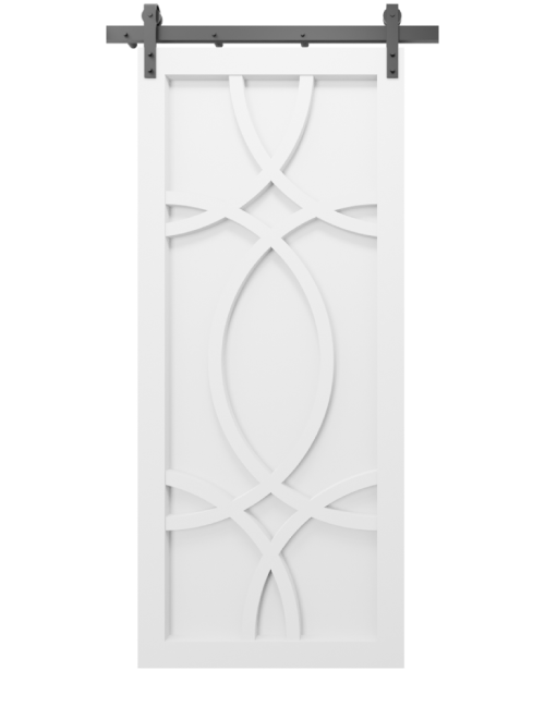 The Alice Wood Swirl Custom Sliding Barn Door - in white