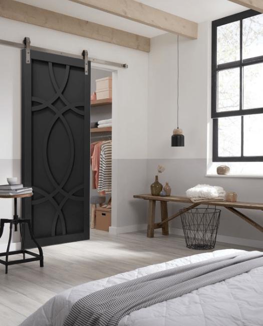 Alice Swirl Sliding Barn Door Painted Black Lifestyle Bedroom Closet