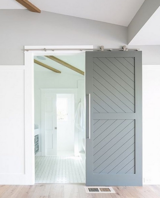 the Audrey steel grey two panel etched wood custom sliding barn door to bathroom