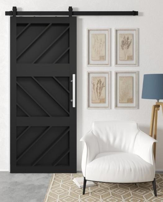 geometric pattern custom wood barn door in matte black