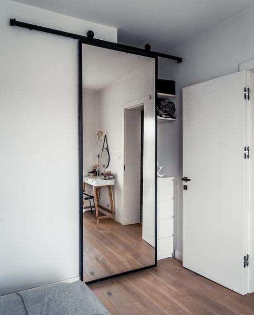 custom metal framed mirror barn door