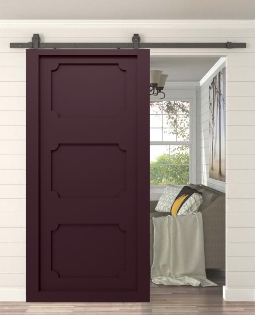plum sliding barn door with panels living room