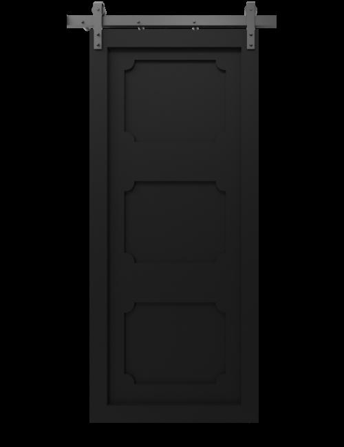 3 decorative panel shaker barn door matte black