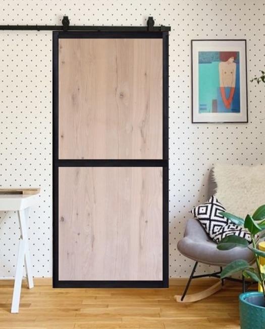 Oak stained two panel wood jennie custom barn door with steel frame