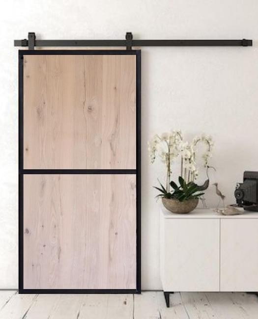 Oak two panel wood jennie custom sliding barn door with metal frame