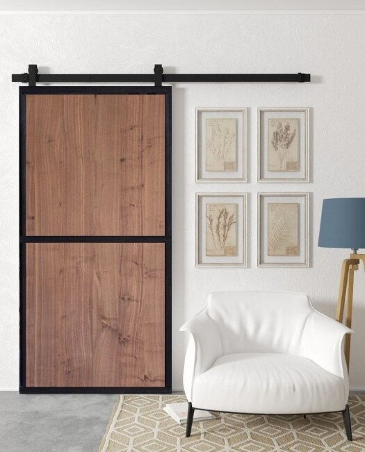 Steel Frame  Real Wood Two Panel Custom Sliding Barn Door