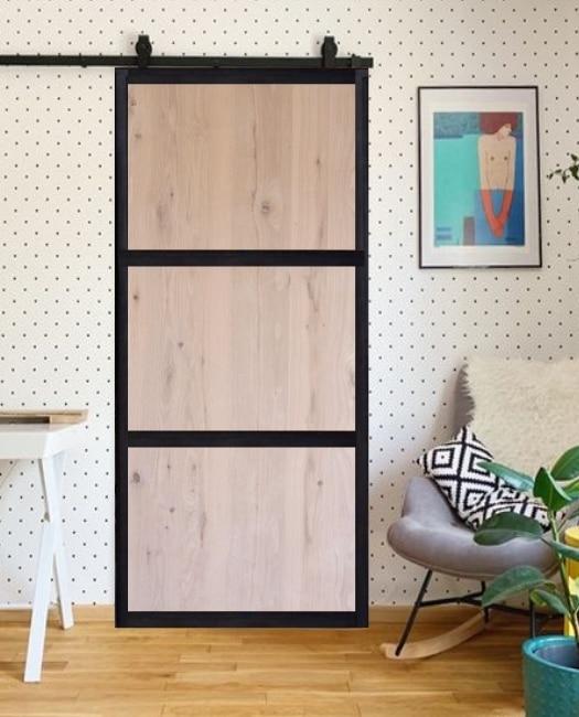 oak smith 3 panel wood steel frame custom sliding barn door
