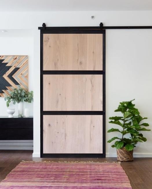 oak smith three panel wood slab Metal frame custom sliding barn door