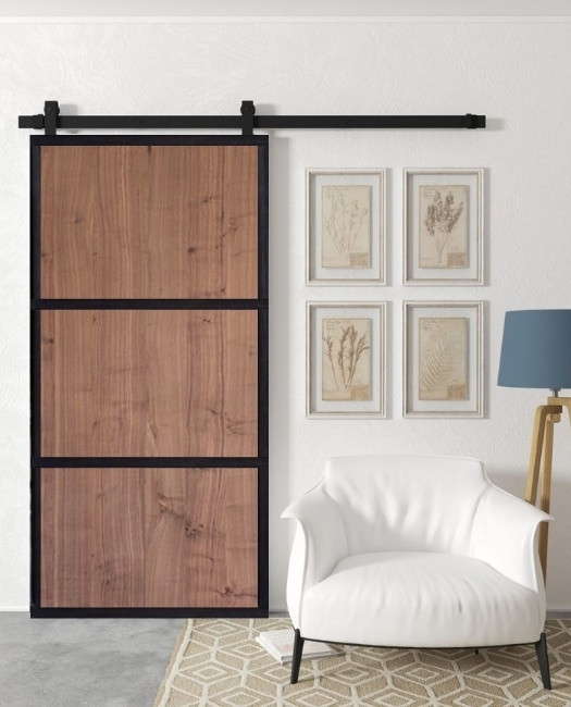 walnut smith three panel wood slb metal frame custom sliding barn door