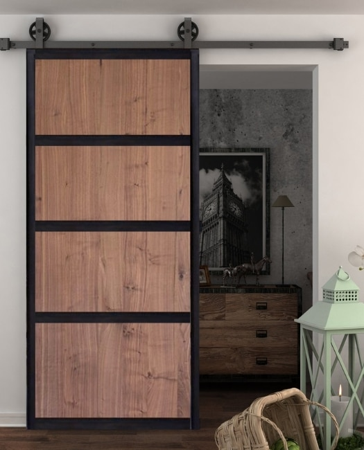 Hendricks walnut stained four panel wood metal frame custom sliding barn door