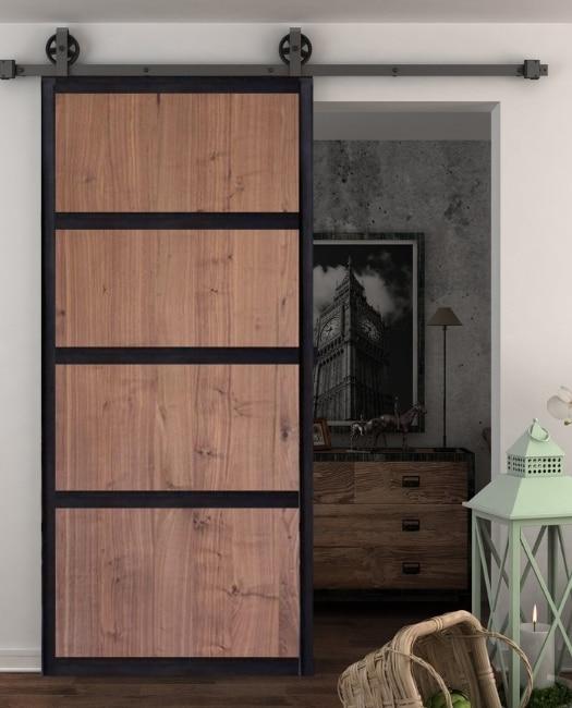 Hendricks walnut stained four panel wood metal frame custom sliding barn door