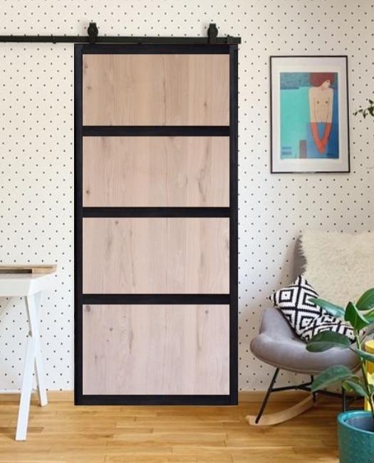 oak wood 4 panel steel framed custom sliding barn door