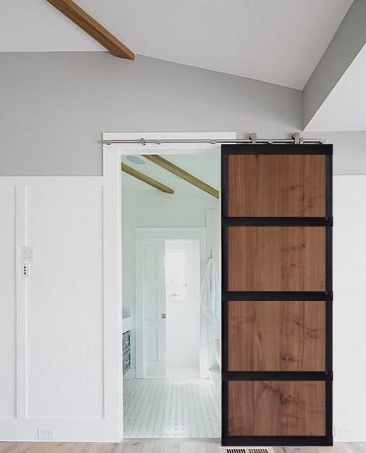walnut hendricks wood panel metal frame bathroom custom brn door