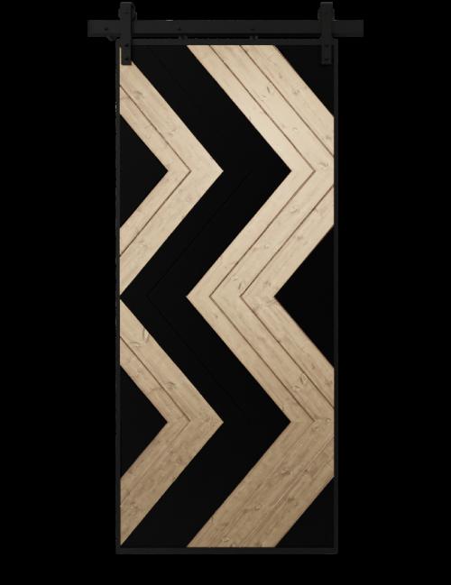 black and natural wood zig zag pattern barn door