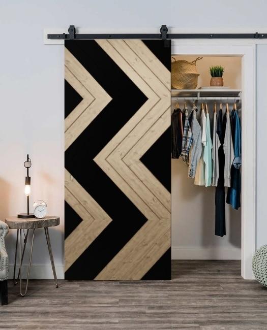 salvaged wood and black painted aztec tribal print custom closet sliding barn door
