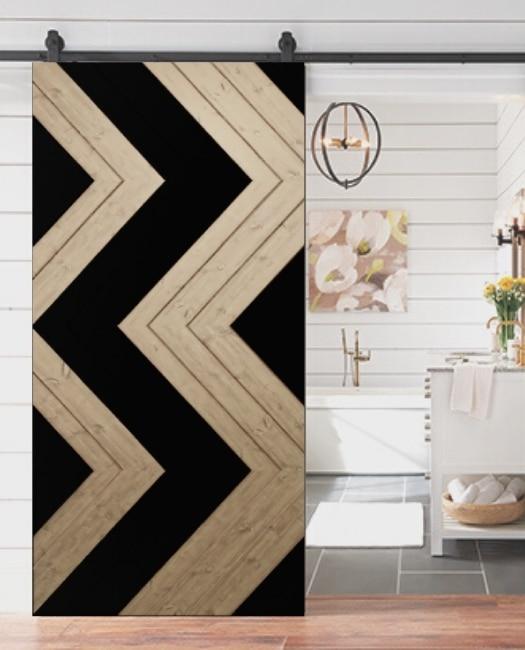 aztec black and wood bathroom barn door