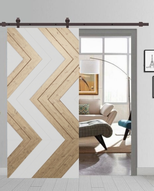 family room custom sliding barn door with aztec tribal print and white paint