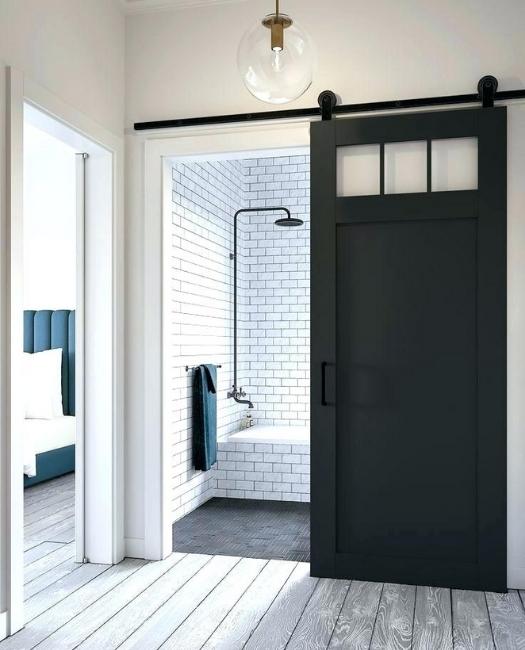 Matte Black 3 window custom sliding wood bathroom barn door