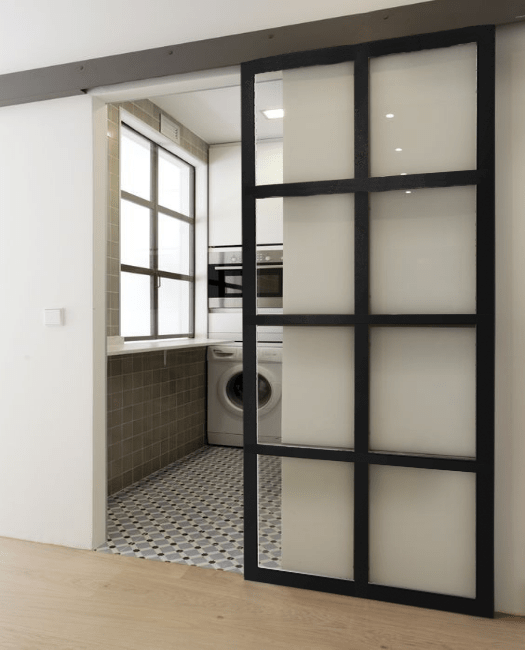Window 8 Pane French Sliding Barn Door User Generated Content laundry room
