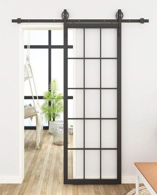 traditional 15 pane glass french metal sliding barn door