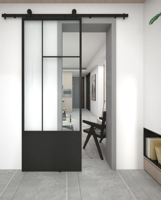 modern pattern metal sliding barn door with glass and kick plate