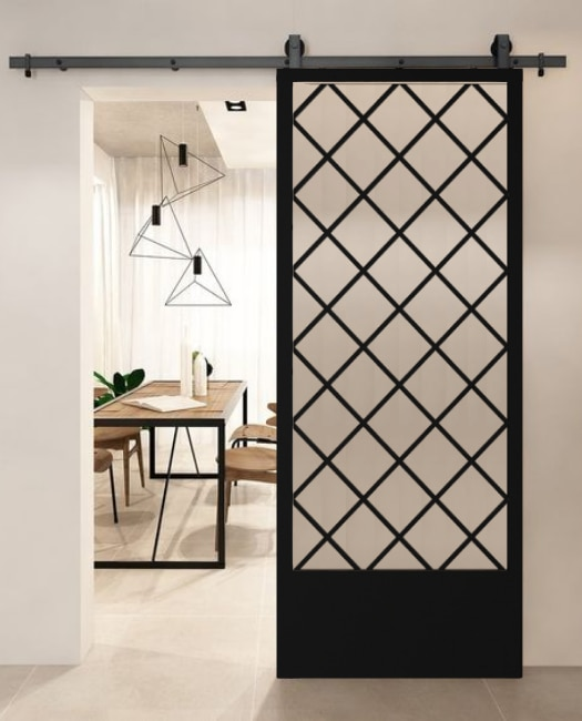 Custom Metal diamond glass barn door to dining room