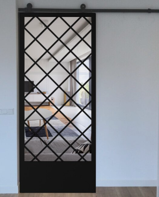 Custom Metal diamond glass barn door to living room