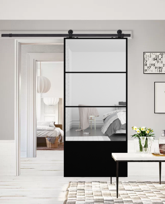 3 panel mirror barn door  in black metal frame lifestyle bedroom