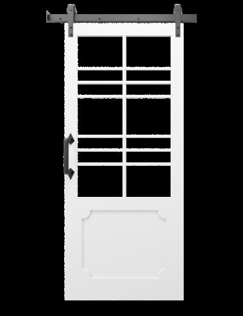 The Wyatt Large Two Panel Glass Custom Sliding Barn Door With Wood Kick Plate