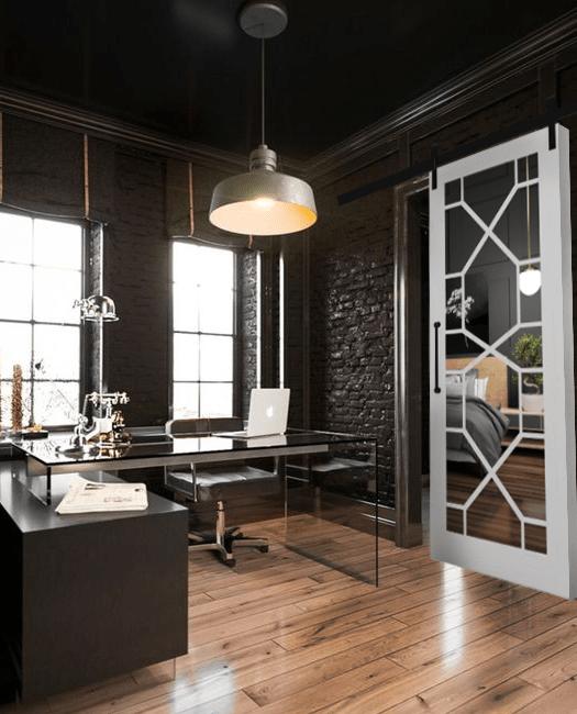 Stacey Wood Frame Mirror Sliding Barn Door Lifestyle Bedroom Office