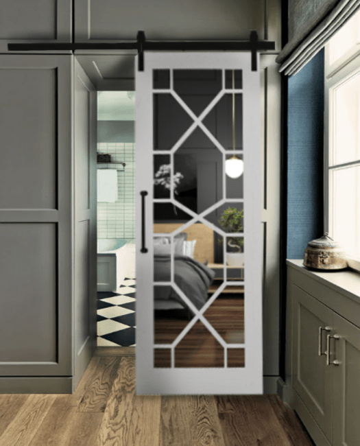 Stacey Wood Frame Mirror Sliding Barn Door Lifestyle Master Bathroom