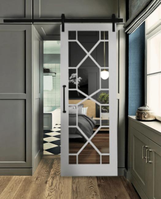Stacey Wood Frame Mirror Sliding Barn Door Lifestyle Master Bathroom