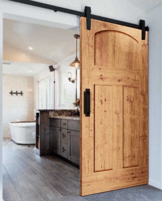 The Kennedy Arched 3 Panel Shaker Custom Sliding Barn Door - Lifestyle Bathroom