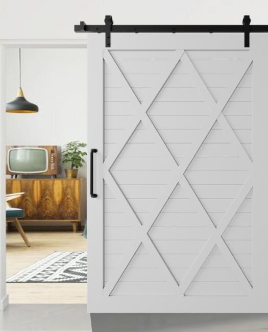 grey Camila four x pattern custom size sliding barn door to family room