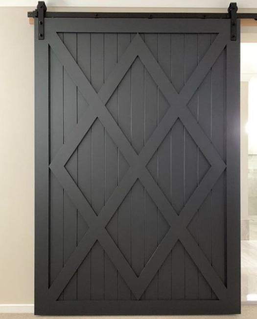 Camila Four X pattern custom size sliding barn door in black