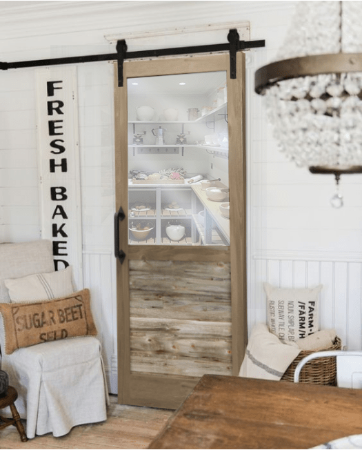 The William Custom Reclaimed Wood With Large Window Sliding Barn Door Lifestyel Pantry