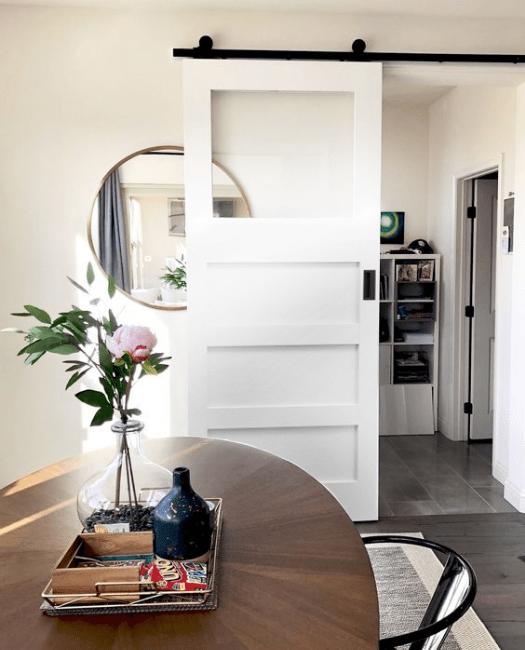 Carter Glass Sliding Barn Door Painted White Installed in Kitchen