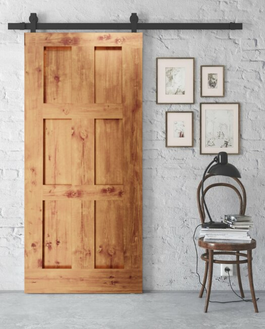 lifestyle image of Rylee six panel shaker old English oak looking sliding barn door