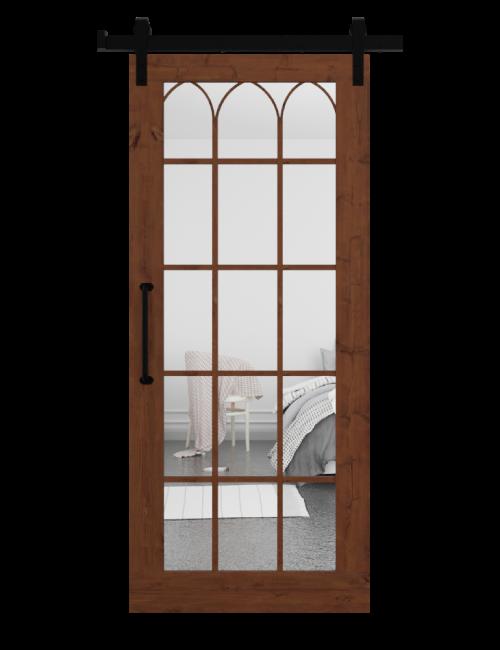 The Archie Wood Frame Mirror With Custom Grid Sliding Barn Door