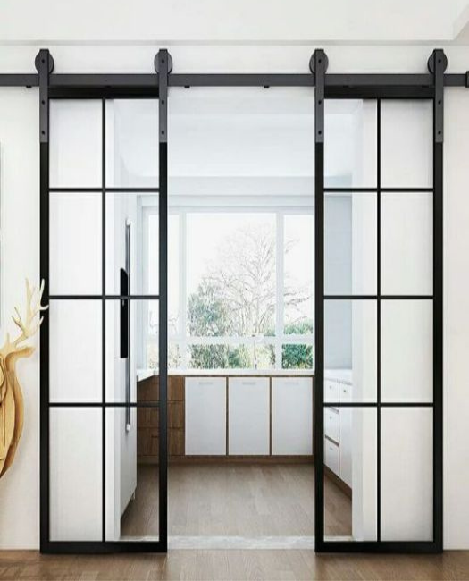 8 pane window french double custom sliding barn door in kitchen with Asian Zen stylings