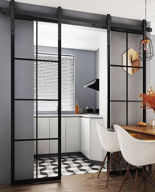 8 pane window french double custom sliding barn door in kitchen