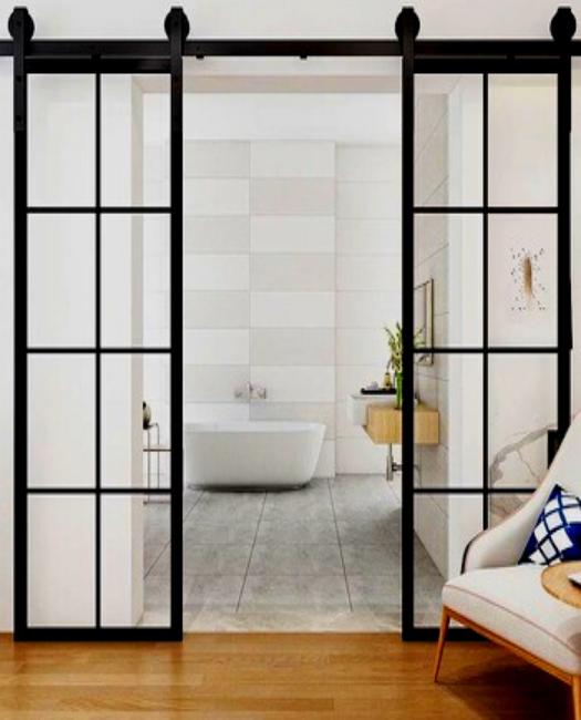 8 pane window french double custom sliding barn door in bathroom