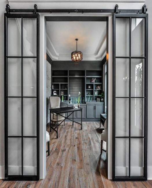 office double 8 pane window french custom sliding barn doors