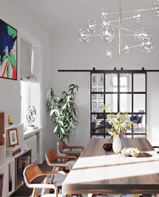 8 pane window french double custom dining room sliding barn door