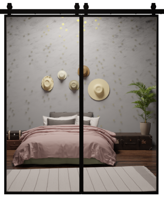 The Fillmore Custom Metal Framed Mirror Double Sliding Barn Door